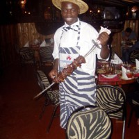 Waiter at the Carnivore Restaurant